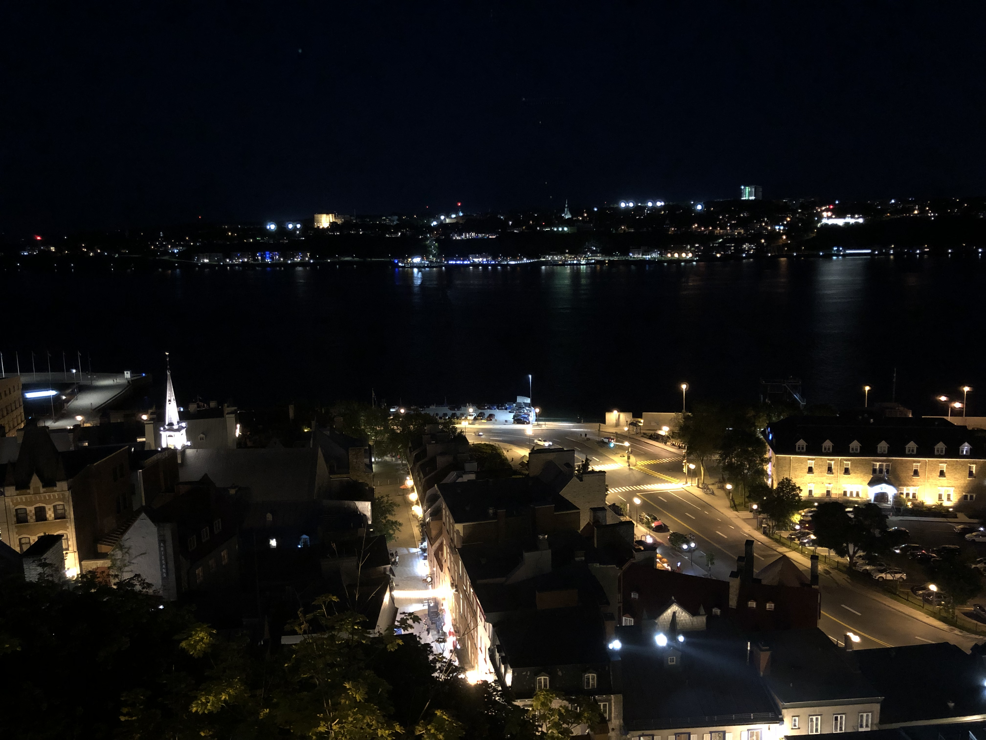 nighttime city lights over Quebec City